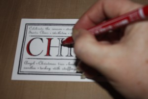 Colour with pen   Christmas Card Craft Ideas   project 1